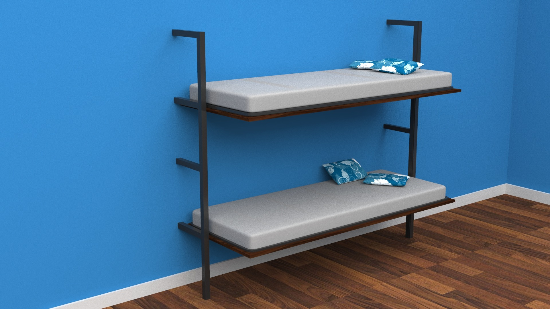 - Horizontal Wall Mounted Folding Double Bunk Bed With Mattresses